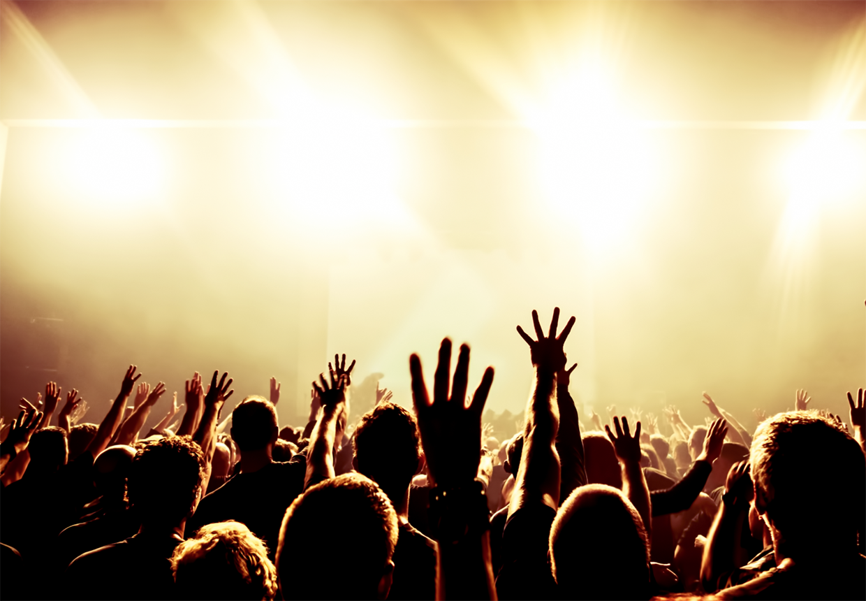 Concert audience with hands up