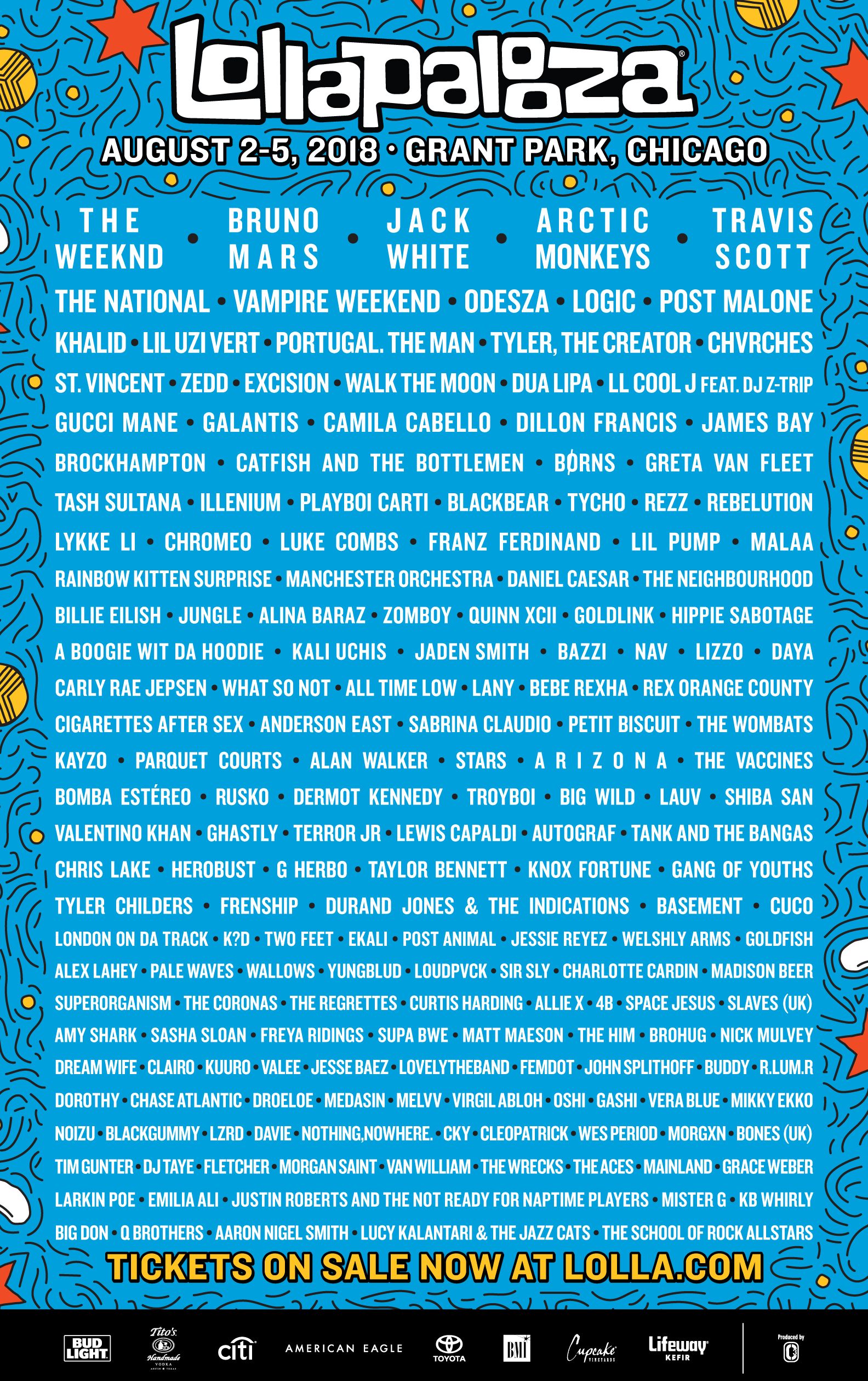 Lollapalooza artist line up.