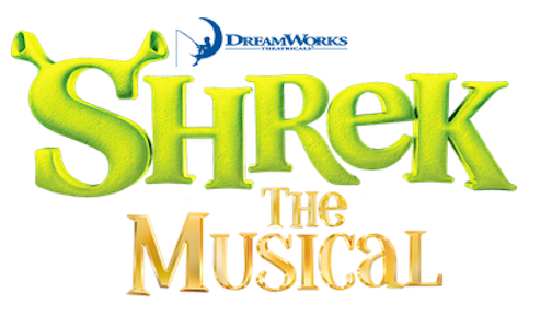 Shrek the Musical logo. The S has Shrek ears coming out the top of the letter.