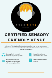 Certified Sensory Friendly Venue. Chart showing what criteria certification uses.