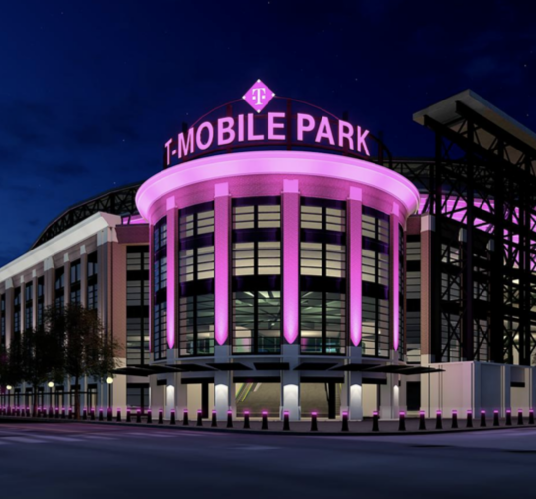Entrance of the TMobile Park at night.