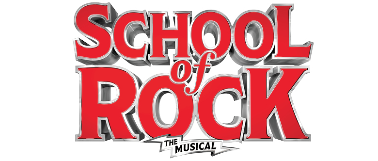 Poster Image from School of Rock, the musical, with School of Rock in large red letters