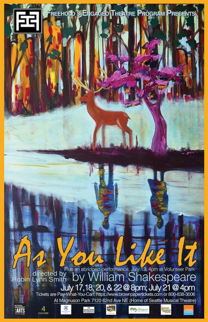 As You Like It poster, depicts a deer in a forest by a lake