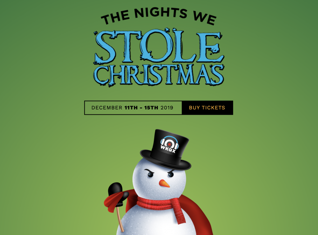 A poster for the concert The Nights we Stole Christmas with a green background and a Snowman